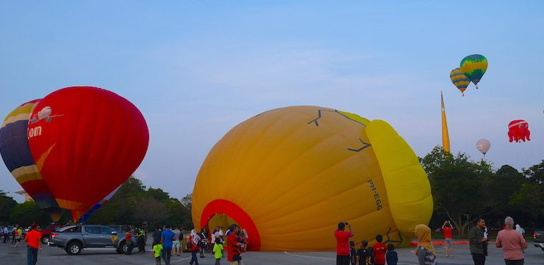 Inflating the balloons at Putrajaya