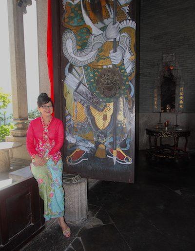 A smiley Lillian at the Kapitan private temple