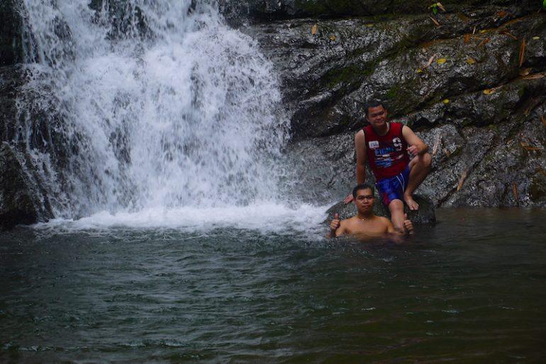 My cousins enjoying the dip