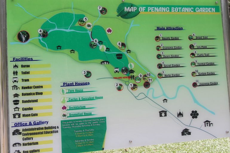 The Penang Botanic Gardens map