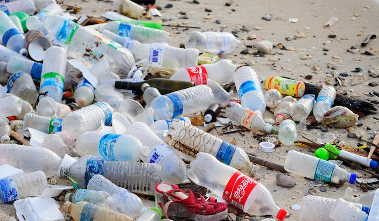 Plastic bottles on a Thai beach