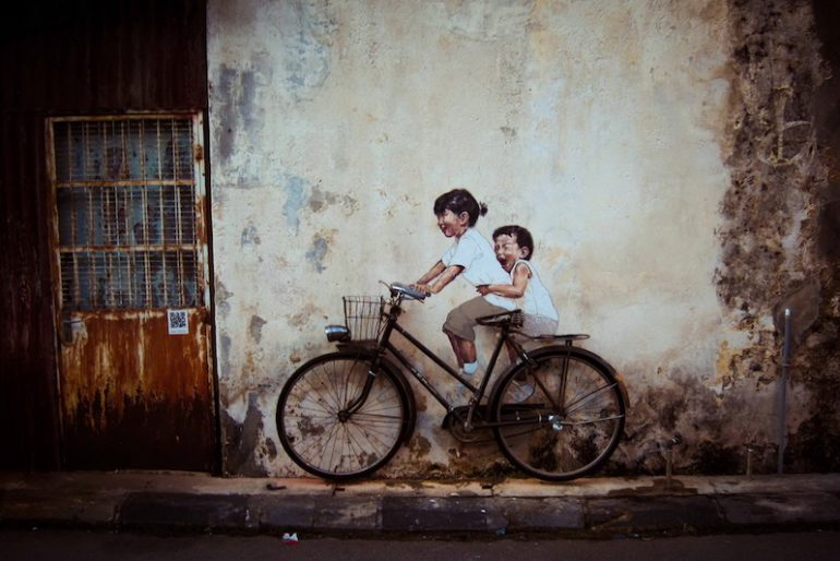 Little Children on a Bicycle, Penang, Malaysia