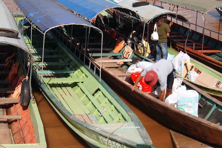 Boats to Laos on the Mekong River