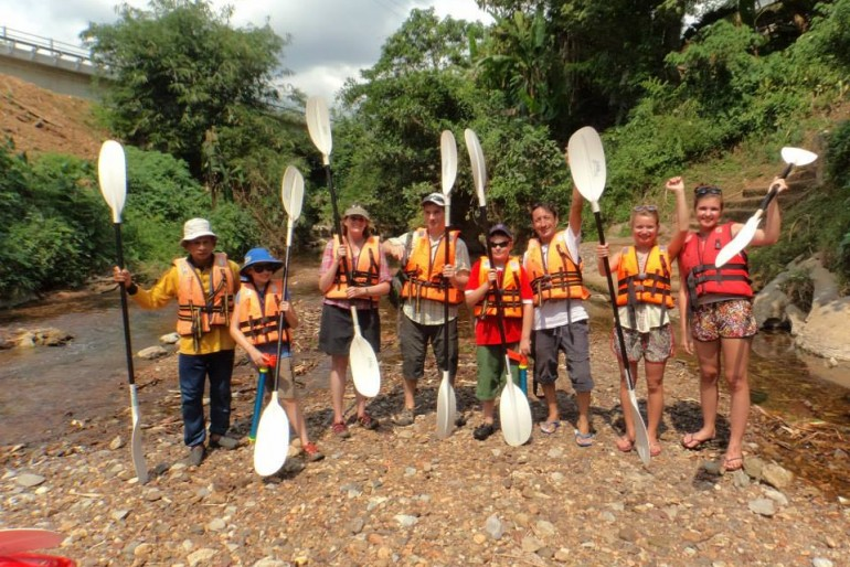 The group ready for paddling