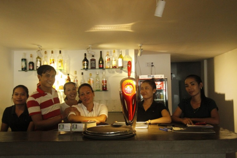 The cheerful staff