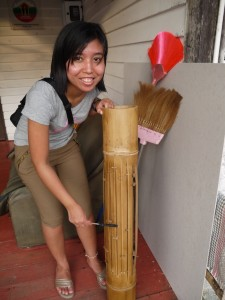 Playing a bamboo instrument