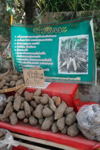 sweet potatoes for sale at the stalls