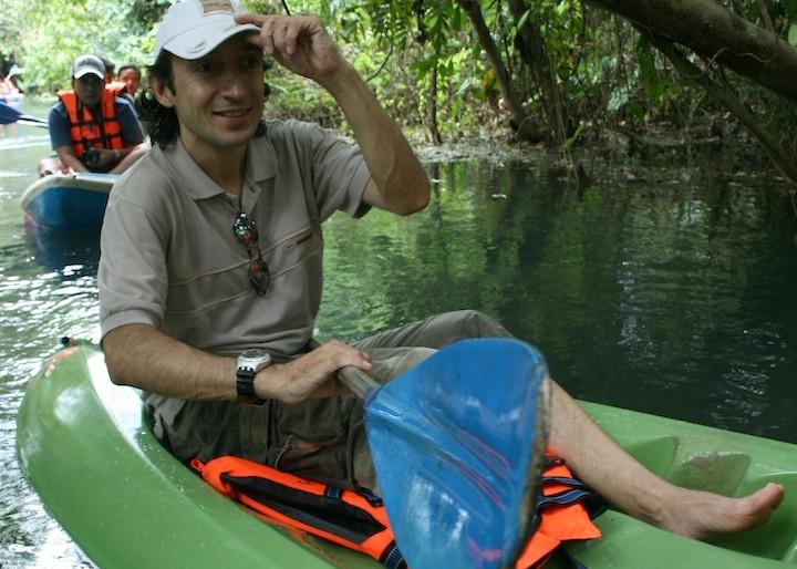 Tha author on his kayak