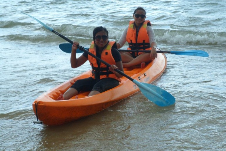 Kayaking near the beach