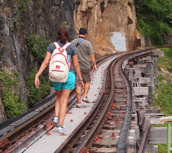 Walking along the railway of death