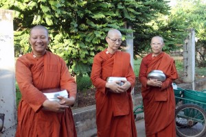 Lady monks collecting alms