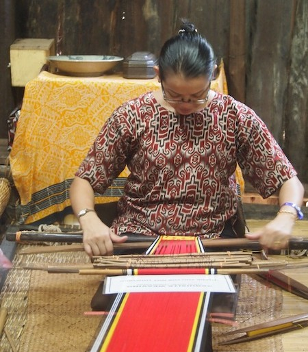 A Malay weaving Songket - a silk fabric