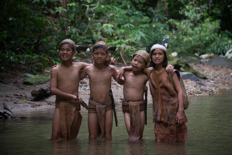 Dayak boys in the river