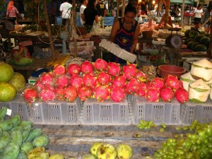 dragon fruits at a Thai local market
