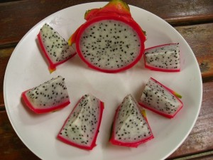 dragon fruit served in slices