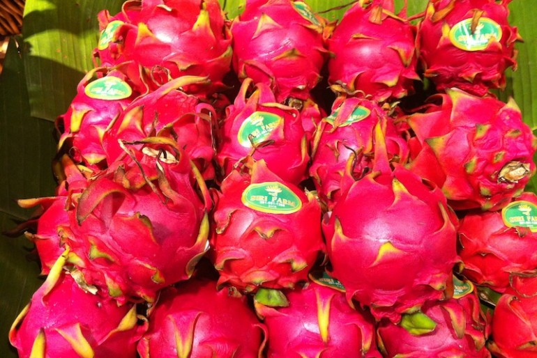dragon fruits at a Thai supermarket