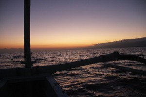 On the boat towards the rising sun