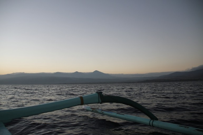 Bali volcanoes in the distance