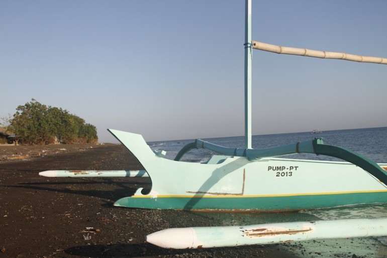 Our outrigger on the Ume Anyar beach