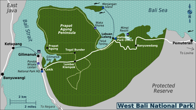 Bali Barat National Park map