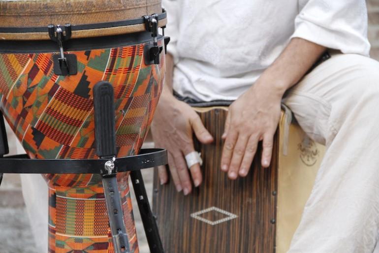 Omid Bahadori at the drums