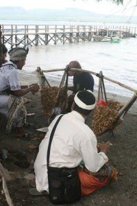 Peanuts seller on the Labuan Lalang pier