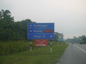 Signboards along the way to Lundu
