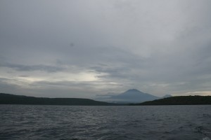 The view of Bali volcanoes during the boat trip