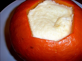 A shiny custard filling