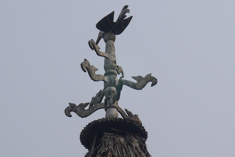 Hornbill symbol at the top of a baruk house