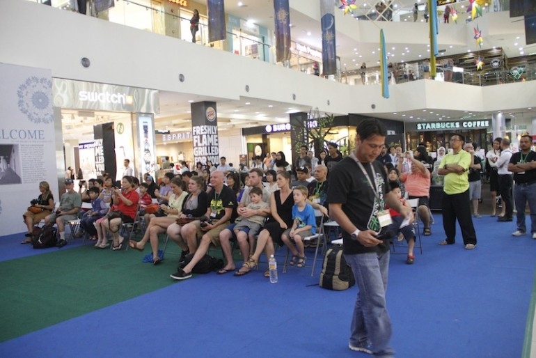 The crowd at Kuching's Merdeka Plaza shopping mall