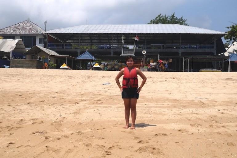 I enjoy the beach at Tanjung Benoa