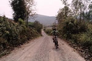 Riding along dirt roads