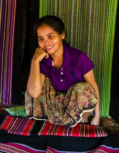 Woman selling her handicraft