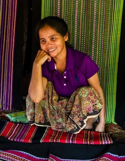 Woman selling her handicraft