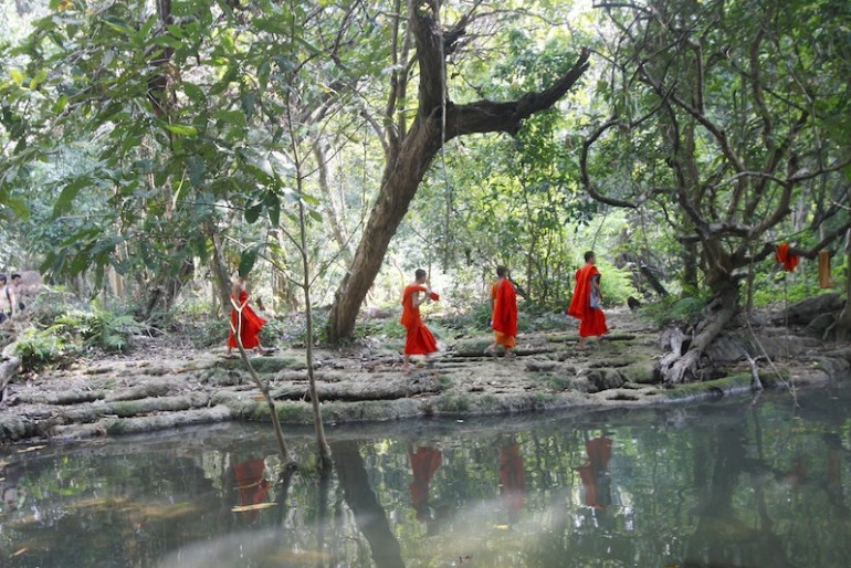 Monks heading to the caves