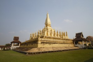 Pha That Luang pagoda form the inside grounds