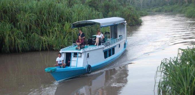 Klotok wooden river boat in Tanjung Putting