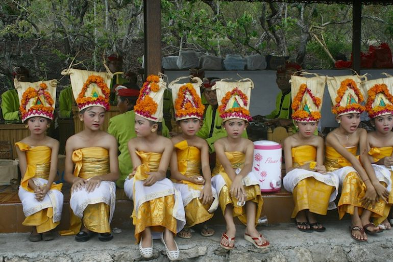 Young girls dressed up for Galungan