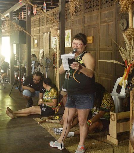Linda emcee at one of Rainforest World Music Festival workshops