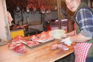 Butcher at work