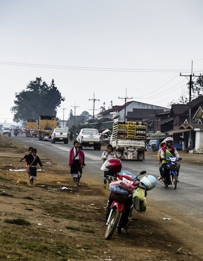 Driving through the outskirts of Pakse