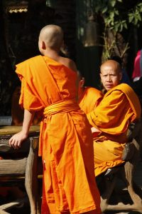 Monks at the temple complex