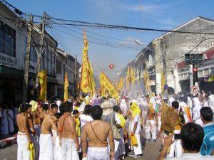 Firecrackers at the Phuket vegetarian festival