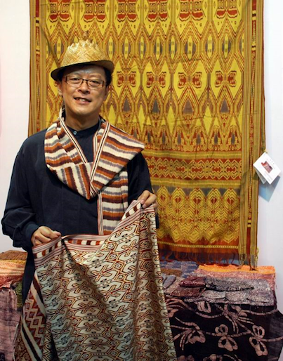 Edric Ong with one of his textiles
