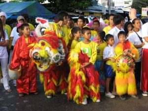 Kids in traditional costumes