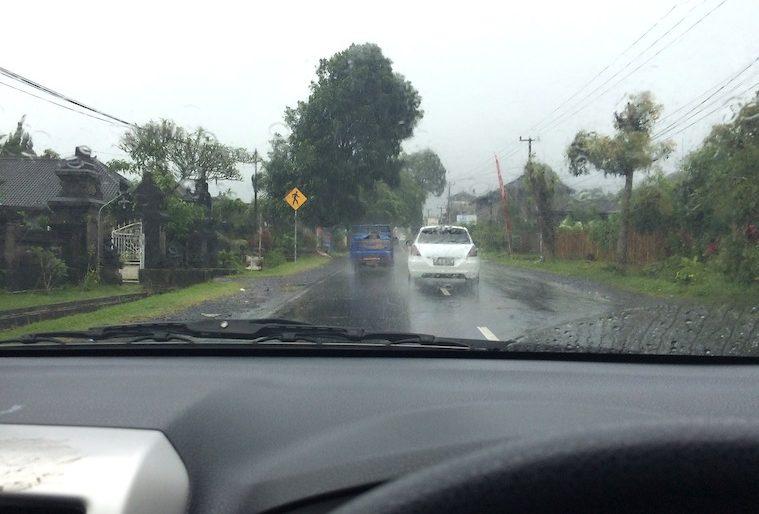 Driving in the heavy rain, approaching Bedugul
