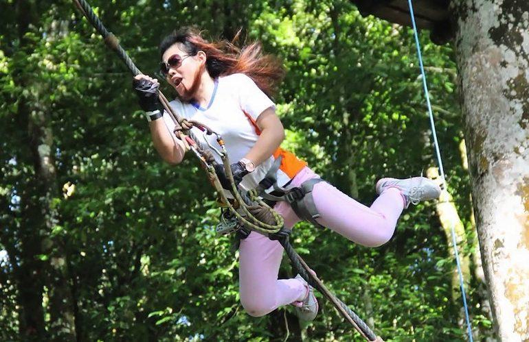 The notorious Tarzan jump
