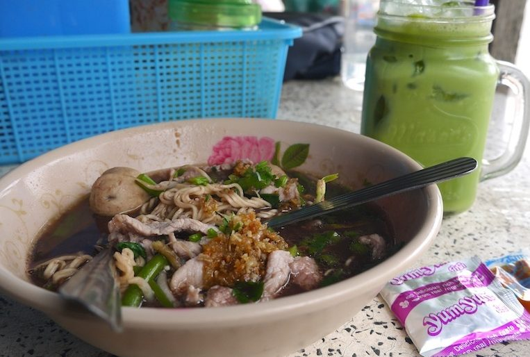Boat noodles and fresh ice tea