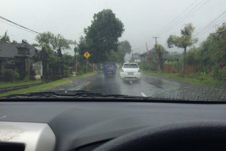 Driving in the rain at Bedugul